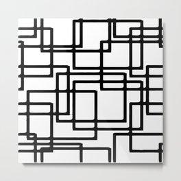 Interlocking Black Squares Artistic Design Metal Print