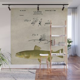 Vintage Brown Trout Fly Fishing Lure Patent Game Fish Identification Chart Wall Mural