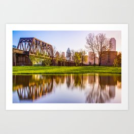Dallas Morning Skyline Reflections Art Print