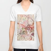 pittsburgh V-neck T-shirts featuring Pittsburgh by MapMapMaps.Watercolors