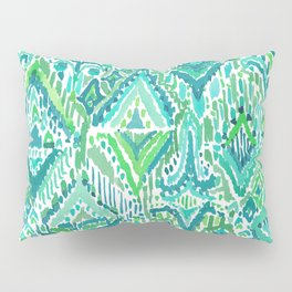 Spring TEMPLE TRIBAL Green Ikat Pillow Sham