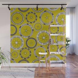 bike wheels chartreuse Wall Mural