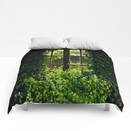 Green idyllic overgrown cottage garden window Comforters