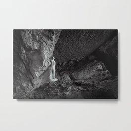 Fearless women in cave Metal Print