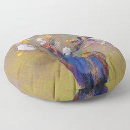 "Odilon Redon ""Flowers on a grey background (Fleurs sur fond gris)"" Floor Pillow"