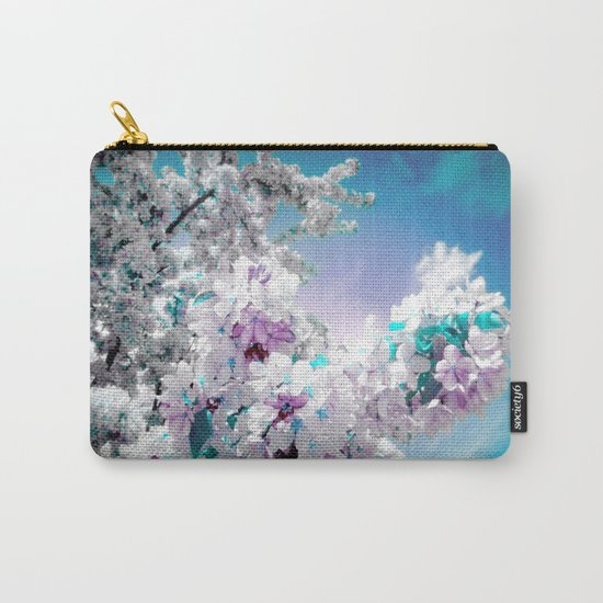 Flowers Lavender Turquoise Aqua Blue Carry-All Pouch