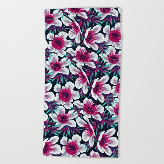 Manuka Floral Print -  Light Beach Towel