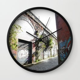 Scottish Photography Series (Vectorized)  - Cobbled Glasgow Lane Wall Clock