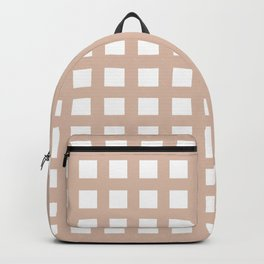 PLAID SERIES Thick Dusty pink grid pattern Backpack