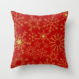 Red and gold snowflakes Throw Pillow