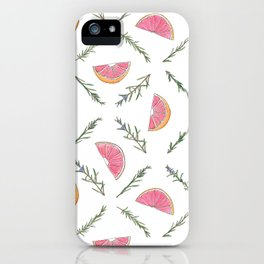 Grapefruit and Rosemary Pattern iPhone Case