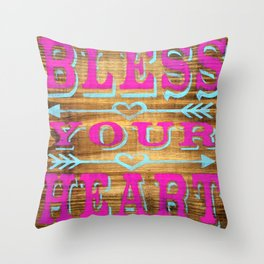Bless your Heart - Wood Sign - Southern Saying Throw Pillow
