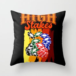 HIGH STAKES POKER CHIPS Poker Gift Poker Player Throw Pillow