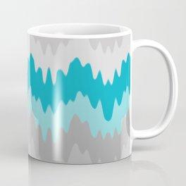 Teal Turquoise Blue Grey Gray Chevron Ombre Fade Zigzag Coffee Mug