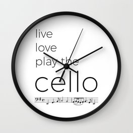 Live, love, play the cello Wall Clock