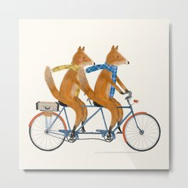 foxes lets tandem Metal Print