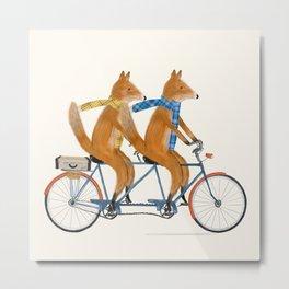 foxes lets tandem Metal Print