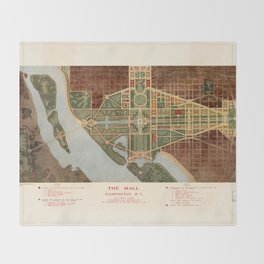 The Mall, Washington D.C. Map (1915) Throw Blanket