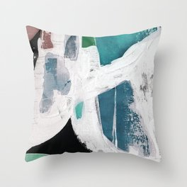 Teal Blue White On Black Abstract Throw Pillow