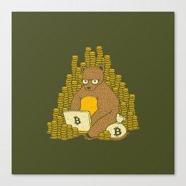 Bitcoin Miner T-shirt Bear Canvas Print