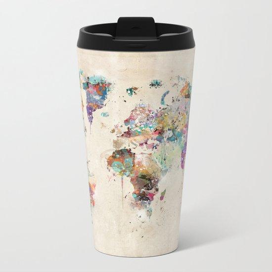 world map rustic Metal Travel Mug