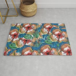 FLOWER RED AND BLUE Rug