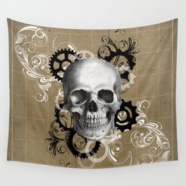 Skull With Gears and Floral Ornaments Wall Tapestry