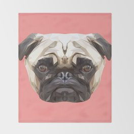 Pug // Pink Throw Blanket