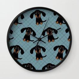 Cute Dachshund Puppy   Black and Tan Wiener Dog Wall Clock