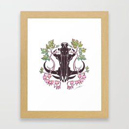 Boar Skull with Bleeding Hearts Framed Art Print