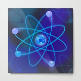 Blue Atomic Structure Cool Modern Science Graphic Illustration Metal Print