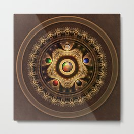The Five Fractal Jeweled Elements of Qi Gong Metal Print