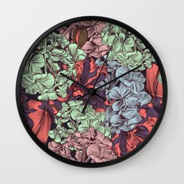 Petunia flowers in vintage style. Vector illustration Wall Clock