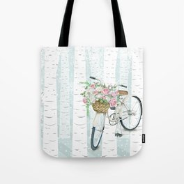 White Vintage bicycle in a Birch Forest Tote Bag