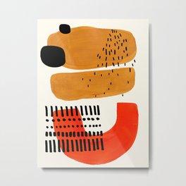 Mid Century Modern Abstract Minimalist Retro Vintage Style Fun Playful Ochre Yellow Ochre Orange Sha Metal Print