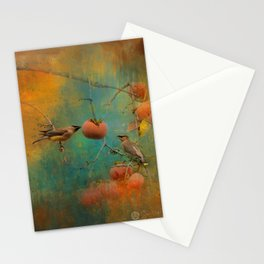 Visiting Cedar Waxwings Stationery Cards