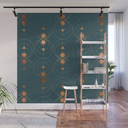 Copper Art Deco on Emerald Wall Mural