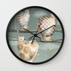 Cats in Cups Wall Clock