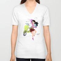 vespa V-neck T-shirts featuring Vespa by Tora Nami