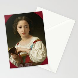 "William-Adolphe Bouguereau ""Le livre d'heures"" Stationery Cards"