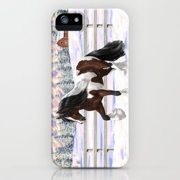 Brown and White Bay Pinto Skewbald Gypsy Vanner Draft Horse In Snow iPhone Case