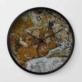 Cornish Headland Cracked Rock Texture with Lichen Wall Clock