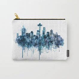 Seattle Skyline monochrome watercolor Carry-All Pouch
