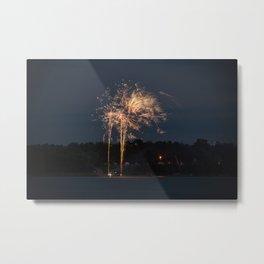 Fireworks Over Lake 24 Metal Print