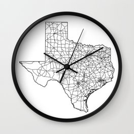 Texas White Map Wall Clock