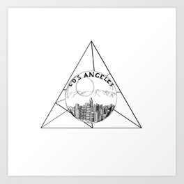 Graphic Geometric Shape Gray Los Angeles in a Bottle Art Print