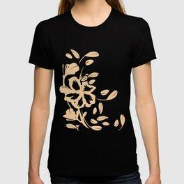 Tropical Flower - Coral Silhouette Over Desert Rose Cream T-shirt