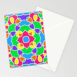 Rainbow Mosaic Symmetrical Swirls Kaleidoscope 2 Stationery Cards