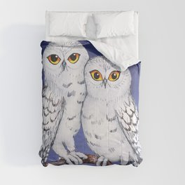 Two lovely snowy owls Comforters