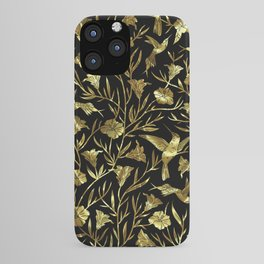Black and gold foil humming birds & leafs pattern iPhone Case